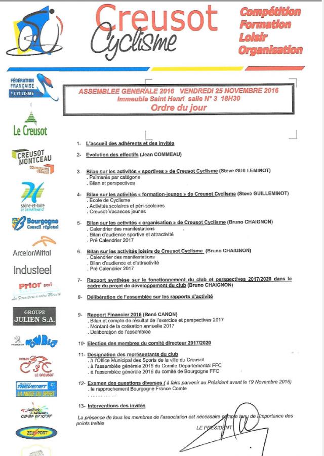 Ffc Bourgogne Calendrier 2020.Assemblee Generale 25 Novembre 2016 Creusot Cyclisme