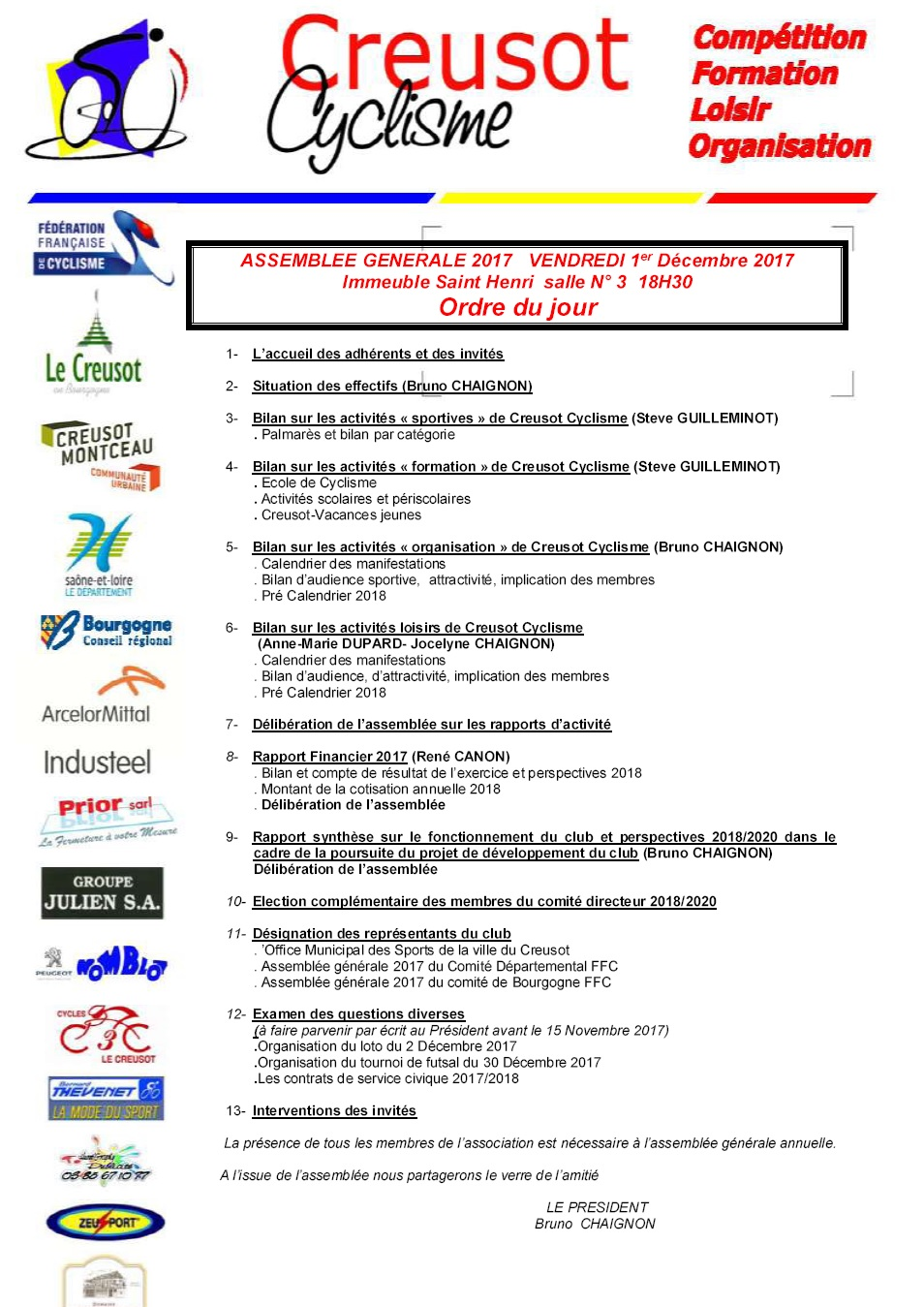 Ffc Bourgogne Calendrier 2020.Assemblee Generale 1er Decembre 2017 Creusot Cyclisme
