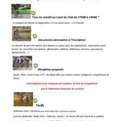 Inscriptions Saison 2019/2020 : Creusot Cyclisme
